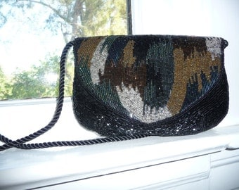 Vintage Multi Colored Beaded Evening Bag With Strap