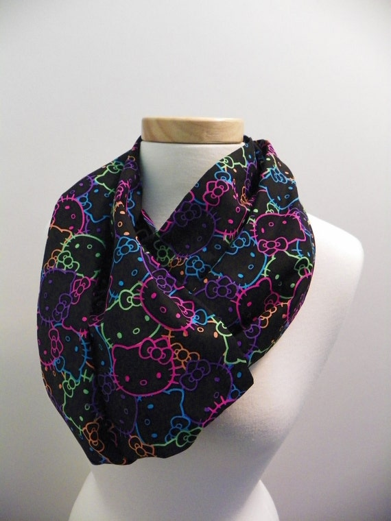 hello fabric infinity scarf neon by giftsfromthemitten