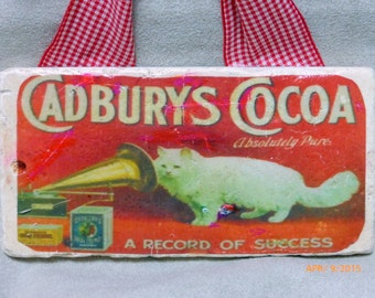 marble subway tile sign - 3x6 Stone Sign - Vintage Advertising - Cadburys Cocoa - Red and White - Cat sign