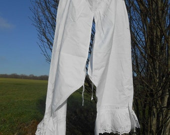 1800's Long Open White Bloomer Handmade French Floral Cut Works Embroidered Panty Cotton Underwear Lingerie Medium Large #sophieladydeparis