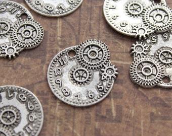 10 Clock Charms Clock Pendants Tibetan Antiqued Silver Tone charms 22 x 20 mm