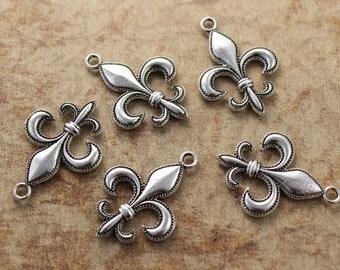 10 Fleur De Lis Charms Fleur De Lis Pendants Antiqued Silver Tone Double Sided 20 x 25 mm