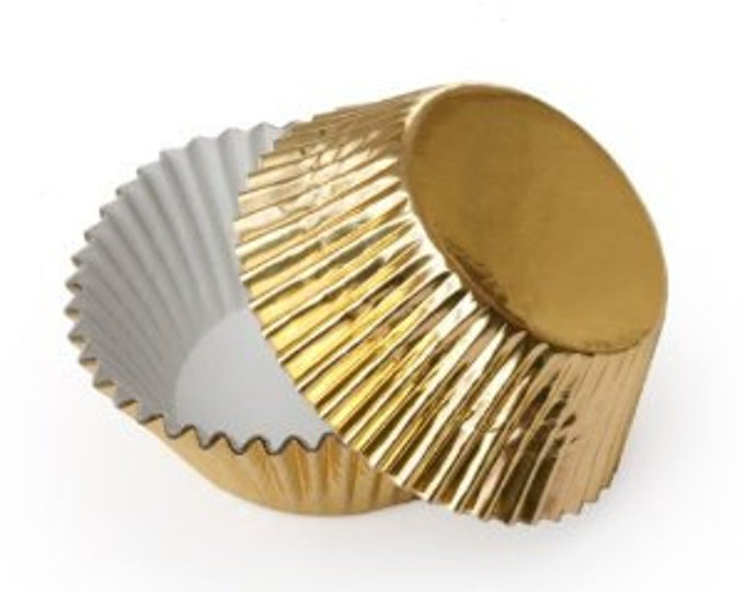 50 Gold Foil Mini Cupcake Liners, Baking Cups, Greaseproof, Professional Grade