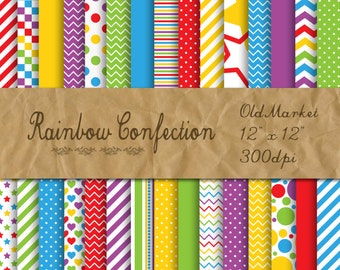 Rainbow Confection Digital Paper -  Colorful Digital Paper Pack -  30 Papers - 12in x 12in - Commercial Use -  INSTANT DOWNLOAD