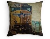 Union Pacific Train Pillow Cover, 'A Train to Chicago' Man Cave Decor, Railfan, Freight Train Photo Pillow, Fathers Day, Boys Room Decor