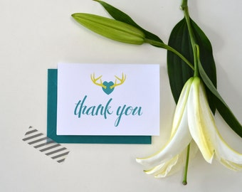 Thank you Card's ~ Wedding Set ~ Lime green, teal