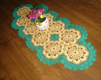 Crocheted doily Green and yellow doily Handmade doily Table decoration Lace doily Crochet doily