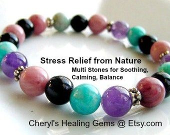 SALE!!! Anxiety Relief Bracelet, Anxiety Bracelet, Multi Stones Soothing, Focus, Balance, Chakra Jewelry,BuzzFeed Trending Now