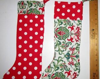 Set of 2 Bright, Colorful Handmade Cotton, Fleece Lined,  Christmas Stockings Decorative  Gift Bag Alternative