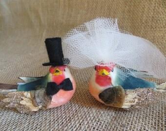 Glittering  Woodland Bird Wedding Cake Topper,  Wedding Cake Topper, Lovebird Cake Topper, Rustic Wedding Cake Topper