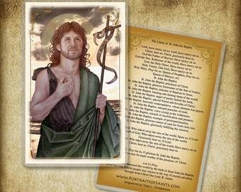 St. John the Baptist Holy Card or Wood Magnet  #0188