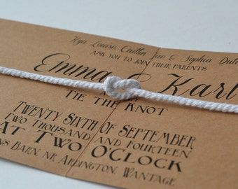NEW DESIGN...Tie the Knot folded Wedding Invite & rsvp kraft card