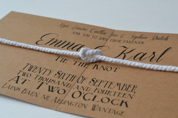 The Knot Addressing Wedding Invitations: Items Similar To NEW DESIGN...Tie The Knot Folded Wedding