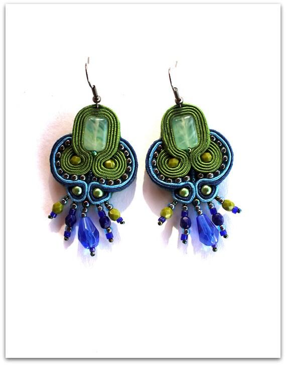 GREEN & BLUE soutache earrings, HANDICRAFT