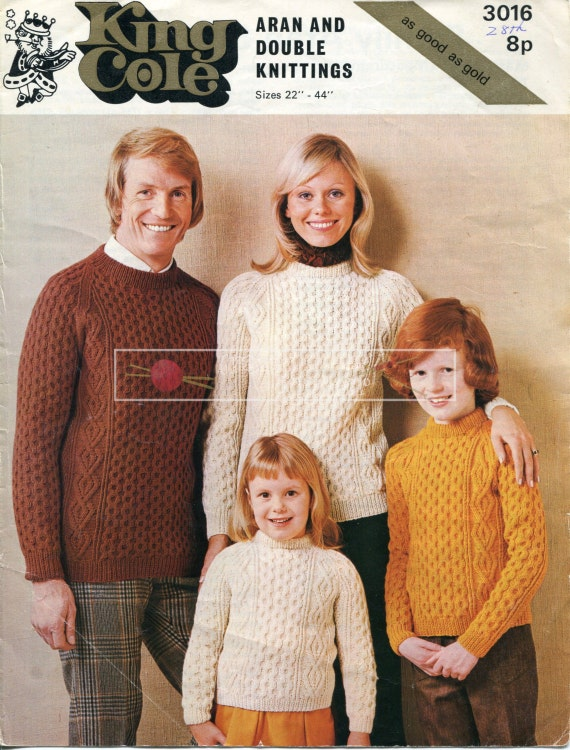 King Cole Knitting Patterns To Download : Family Aran Sweaters DK Aran 22-44in King Cole 3016 Vintage