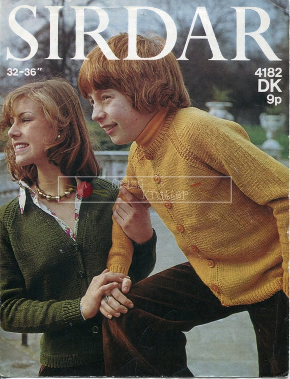 Teenager Unisex Cardigans  DK 12-16 years Knitting Pattern PDF instant download