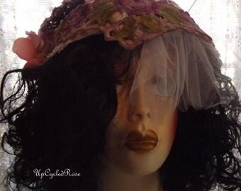 On Sale   Mixed Media Wearable Art Up-cycled Rose Gypsy DooRag Bohemian Head Wrap