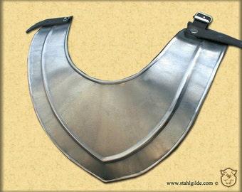 Larp, fantasy, medieval, costume, steel armour: Gorget (Premium, pionted)
