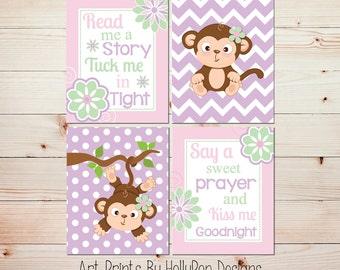 Baby Girl Nursery Art Monkey Nursery Decor Pink Purple Nursery Art Prints Read Me A Story Nursery Prints Toddler Girls Room Monkey Art #1095