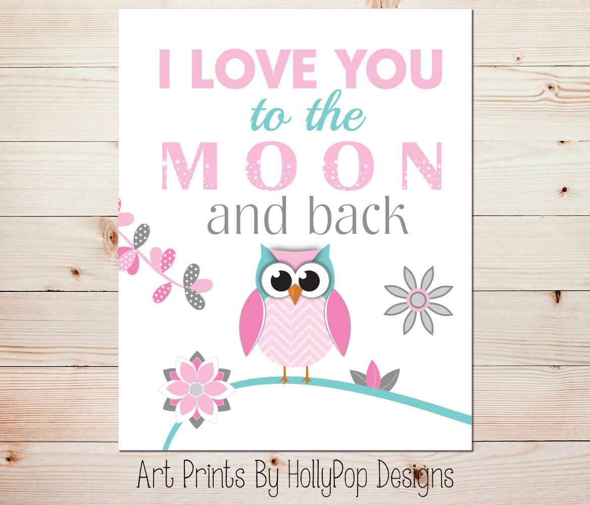 I Love You To The Moon And Back Nursery Art Owl Nursery Wall