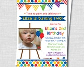 Art Party Photo Invitation - Painting Art Themed Birthday - Digital Design or Printed Invitations - FREE SHIPPING