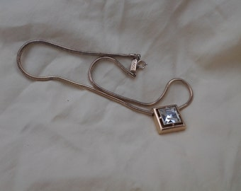 On Sale Avon Jewelry Gold Toned Chain and Square Cut Crystal Pendant Necklace Costume Jewelry Fashion Accessory