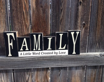 Family wood blocks--Family a little word created by love- home decor wedding