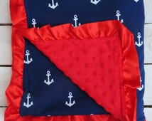 Ready to Ship: Navy Blue Anchor and Red Minky Baby Blanket with Red Satin Ruffles, Baby Gift, Photo Prop, July 4th, Patriotic, Nautical Baby