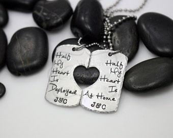 "Hand-Stamped Military Support Deployment ""Half My Heart Is Deployed / Half My Heart Is At Home"" Necklace Set"