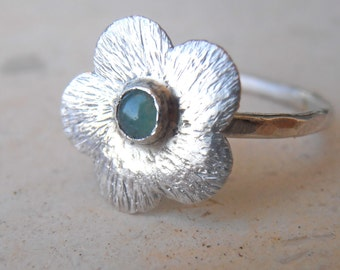 Aventurine flower ring, 5 petals rustic flower / precious stone ring stacking ring - 1.5 mm thick Silver ring,  made to order