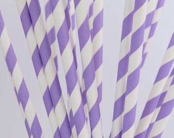 Pack of 25 Drinking Retro Paper Straws for Birthday / Party / Wedding Decoration - Purple