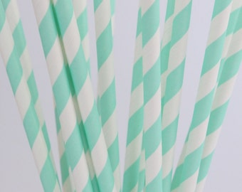 Pack of 25 Drinking Retro Paper Straws for Birthday / Party / Wedding Decoration - Green Pale