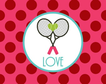 Personalized Placemat - Valentine heart tennis love laminated 12x18""