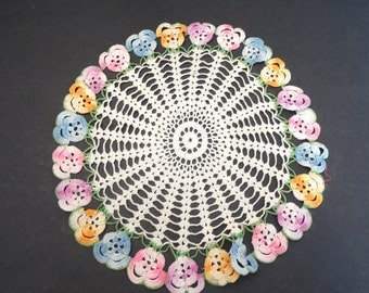 Floral crocheted colorful doily / 12 inch round with flowers