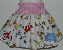Dr Seuss girls skirt. Spring, Summer. Handmade. Children clothing. Sizes available:  12m. 18m, 2T, 3T, 4, 5, 6, 7, 8.