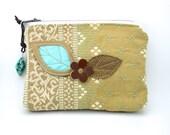 Leather Leaf Clutch . Bag . Purse . School Supply Bag . Turquoise Nugget Handmade USA
