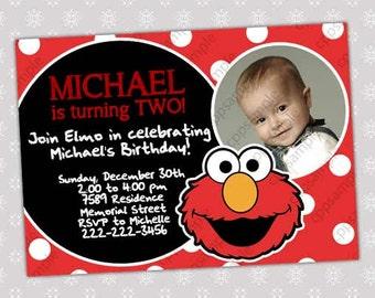 Elmo Birthday Invitation - Sesame Street Birthday Party Invitation - Digital File