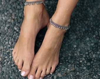 Charlotte - QTY 1: silver tribal anklet
