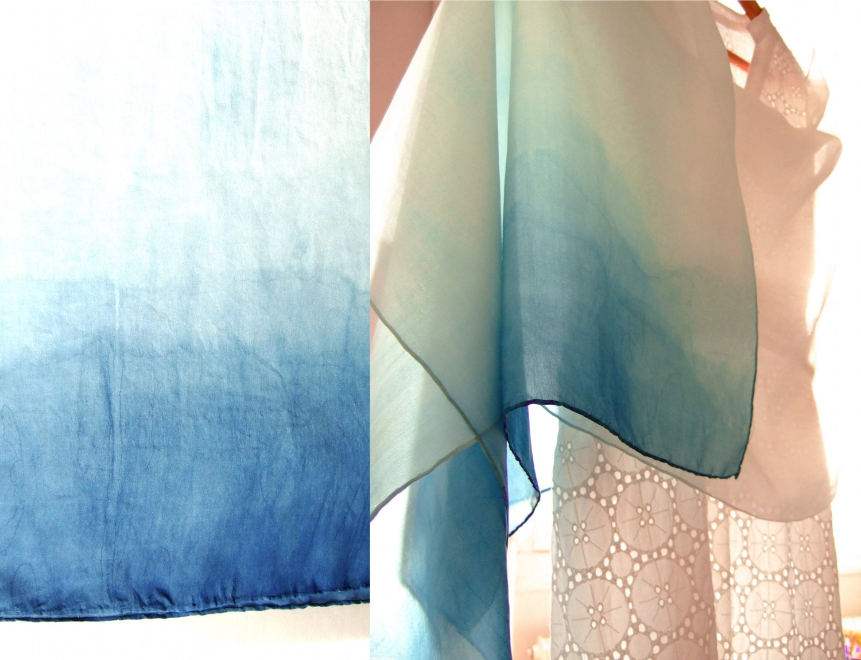 charpe en soie naturelle d grad de bleu indigo teinture. Black Bedroom Furniture Sets. Home Design Ideas