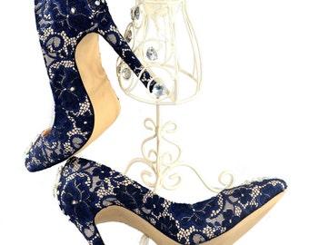 Swarovski crystal Vintage Court French Navy Blue Velvet Lace & crystal pearl bridal White High 'my something blue' heel shoe
