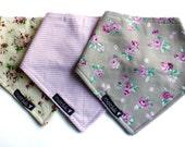Baby girl - Bandana  bib - Pack of 3 Delicate flowers and pink and white stripes 000-1PK - Classic bib Bibdana - gift -  Handmade in Canada