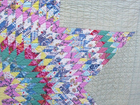Lovely Old BETHLEHEM STAR Quilt Hand-Pieced and