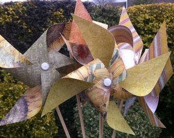 5 paper pinwheels to make - SPINNING kit no pins! Tea party wedding UK