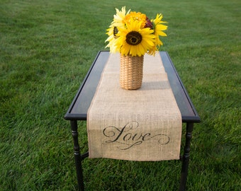 Burlap Table Runner, Table Runner, Love Table Runner