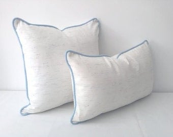 """White Twill Lumbar Throw Pillow 20"""" by 12"""" With Baby Blue Trim, Pastel Modern Home Decor"""