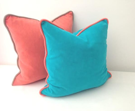 Items similar to Aqua Terry Throw Pillow with Orange Piping 20