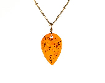 Amber necklace - healing amber necklace - leaf necklace - a drop of baltic amber hanging on a 14k gold filled satellite chain