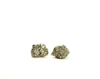 Crystal earrings - rough and raw pyrite earrings - pyrite earrings - rock studs - fools gold - pyrite studs - raw crystal earrings