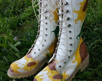 Walkin' on Sunshine - White Leather Boots with Custom Handpainted Sunflowers