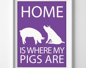 "8x10"" Pig Wall Art, Illustrated Pig Art, Pig Decor, Farm Animal Wall Art, Minimalist Pet Art, Pig Wall Art Print, Gift for Pig Lover, Piglet"